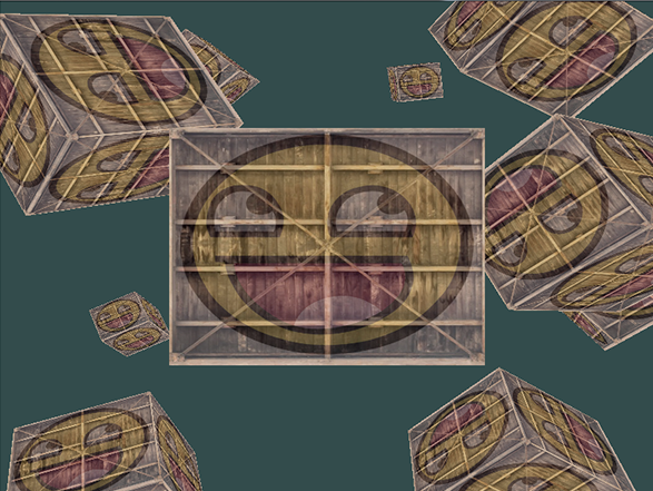 Image of smiling textured containers in OpenGL